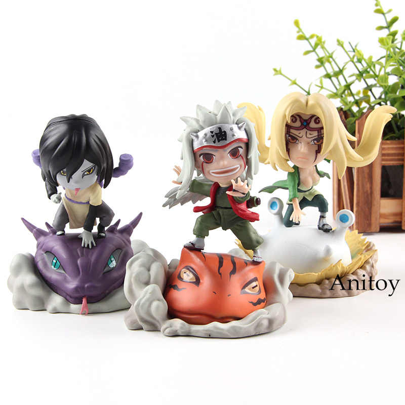 Naruto Shippuden Action Figures Orochimaru Tsunade Jiraiya Figure Q Version Naruto Statues PVC Collection Model Toys