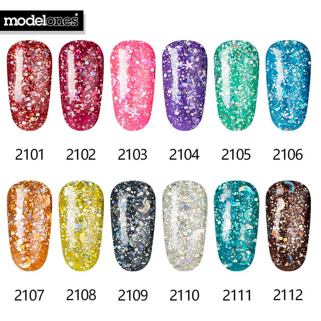 Online Shop Modelones Black Color Glitter Gel Nail Polish 3d Diamond