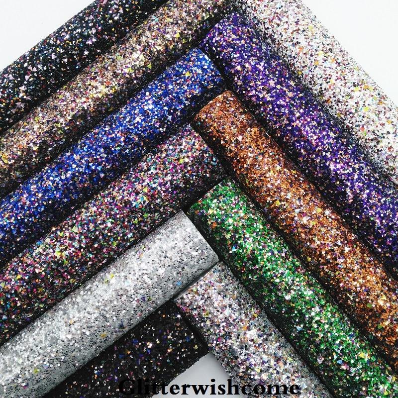 Glitterwishcome 21X29 см A4 размеры синтетическая кожа, коренастый блестящая кожаная ткань винил для Луки, GM064A