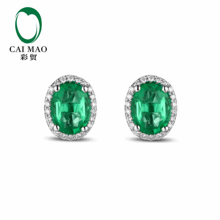 CaiMao 2.25 ct Natural Emerald 14KT/585 White Gold 0.22 ct Full Cut Diamond Stud Earrings Jewelry Gemstone caimao exquisite jewelry natural cabochon cut emerald baguette cut diamond 14kt white gold drop earrings