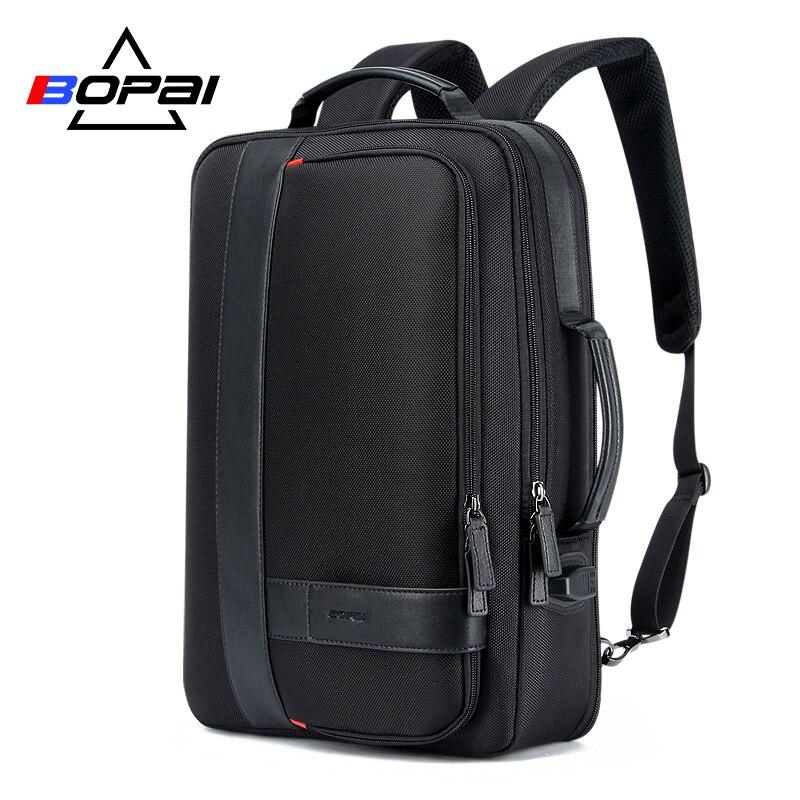 BOPAI Business herren Rucksack Schwarz USB Lade Anti Diebstahl Laptop Rucksack 15,6 zoll Männlichen Große Kapazität College School Taschen