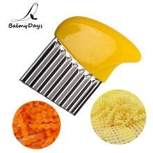цена на Stainless Steel Potato Crinkle Cutter French Fry Potato Chip Slicer Wavy Cutter Knife Kitchen Vegetable Shredder Cutting Tools