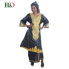 African woman clothing Africa Riche bazin dress for women African traditional embroidered clothing Bazin african clothes women(China)