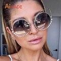 Aimade 2017 Novo Luxo Strass Oversized Quadro Do Gato Olho Óculos De Sol Das Mulheres Revestimento de Moda Big Rodada Espelhados Cateye Óculos de Sol