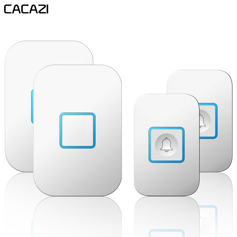 CACAZI Intelligent Wireless Waterproof Doorbell 300M Remote LED Light 2 Button 2 Receiver US EU UK Plug Home Calling Bell ChimeCACAZI Intelligent Wireless Waterproof Doorbell 300M Remote LED Light 2 Button 2 Receiver US EU UK Plug Home Calling Bell Chime