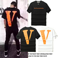 2017 Kanye West Vlone Off White T-shirt Men Women Hip Hop Clothes Summer High Quality Cotton 1:1 Version Big V Off White T-shirt