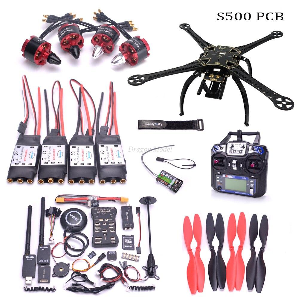 S500 500mm PCB Quadcopter Cadre Pixhawk 2.4.8 M8N GPS Puissance Module 2212 920kv moteur 433 mhz 100 mw télémétrie flysky FS I6 mode 2