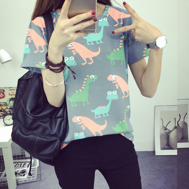 2017Korean Retro Animal Dinosaur Printing T shirt Women 2016 Summer Japanese Harajuku Style Short-sleeved T-shirt Woman Tops