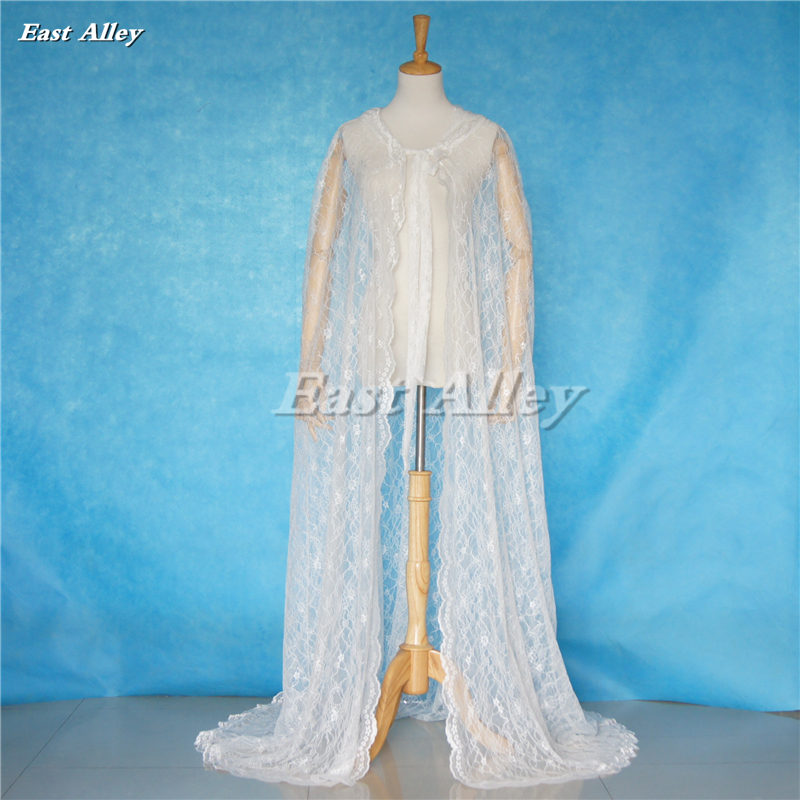 Ivory / White Lace Cape Cloak Hooded Wedding Gothic Medieval Costume Renaissance Halloween