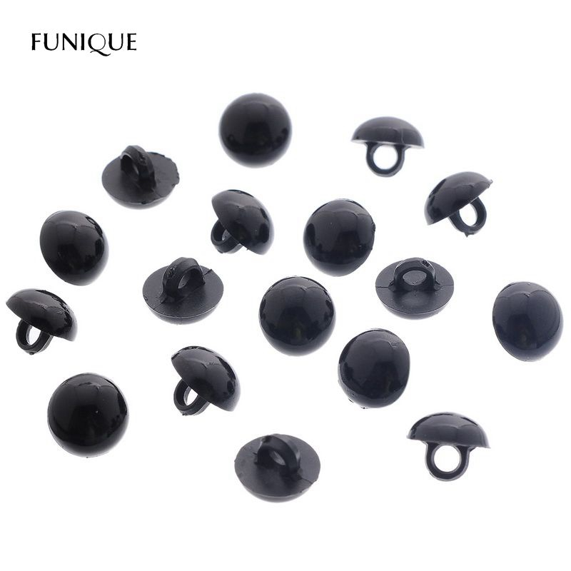 FUNIQUE 100 Pcs Mushroom Black Shank Buttons Plastic Decorative Button Negro DIY Sewing Eye For Dolls Toy Eyes Nose Animal
