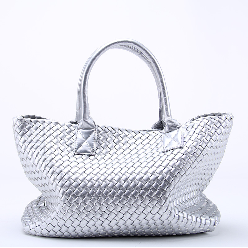 Brand New Ladies Gold Woven Leather Cross Stitch Hobo High capacity Handbag Women Large Shoulder Bag Casual Tote 21 Colors in Top Handle Bags from Luggage Bags