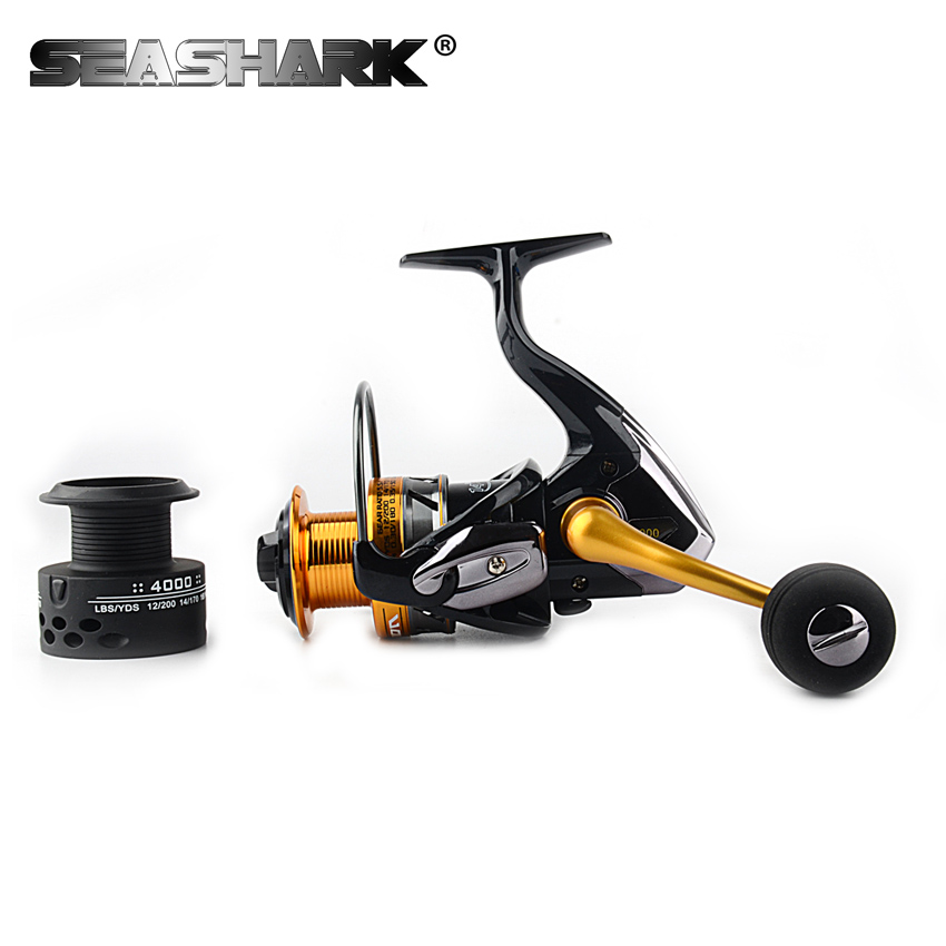 SEASHARK 14+1BB Carbon Drag Spinning Reel with Larger Spool 12.5 KG Max Drag Sea Boat Spinning Fishing Reel With one Spare Spool tsurinoya tsp3000 spinning fishing reel 11 1bb 5 2 1 full metal max drag 8kg jig ocean boat lure reels carretes pesca molinete