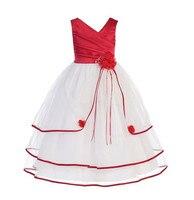 Vestido de Niña de los niños ropa formal para el banquete de boda pequeña dama bola blanco rojo amarillo princesa dress photograps