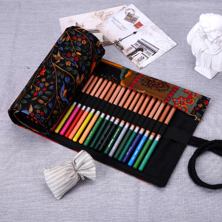 36/48/72 buracos Do Vintage Portátil Canvas Roll Up Pen Caso Pencil Bag Holder Bolsa De Armazenamento Para A Pintura suprimentos caneta Escola
