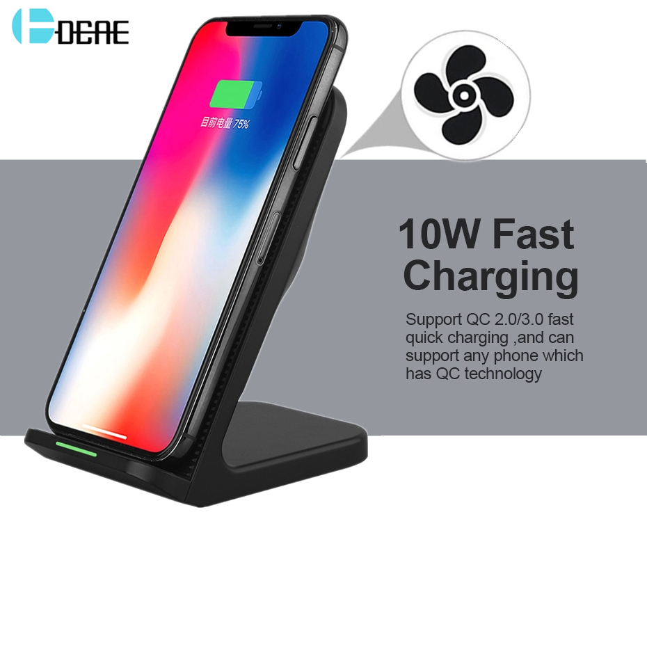 DCAE 10W Wireless Charger For Samsung Galaxy S9 S8 Note 9 8 Qi Wireless Charging Dock For iPhone X XS Max 8 Plus XR USB Charger(China)