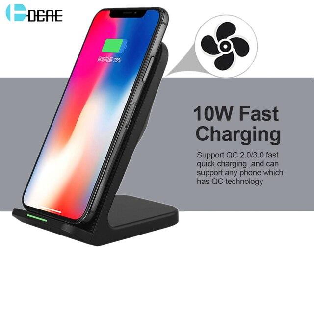 DCAE 10W kablosuz şarj için Samsung Galaxy S9 S10 not 9 10 Qi kablosuz şarj standı iPhone 11 X XS Max 8 XR USB şarj aleti