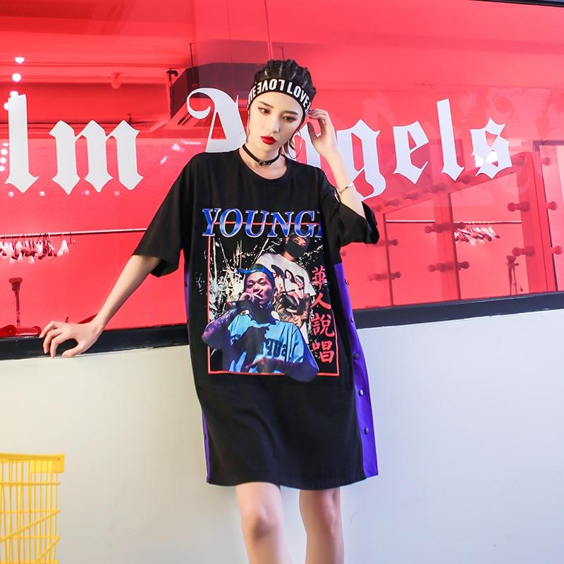 Hop Plus Courtes Lâche Nouvelle Robe Noir cou Taille Harajuku Coton Impression O 2018 Hip Femelle Ly501 Robes Manches La À Black D'été Femmes xAOwaSqYt