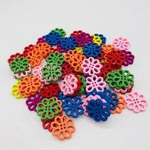 Многоцветные цветочные пуговицы для шитья декоративная ткань пуговицы для рукоделия шитье 4 отверстия Скрапбукинг аксессуары пуговицы рукоделие