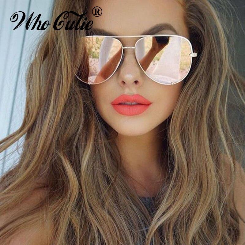 WHO CUTIE UV400 Oversized AVIATION Sunglasses Women Brand Designer Vintage Flat Top Pink Mirror Pilot Sun Glasses Shades OM806