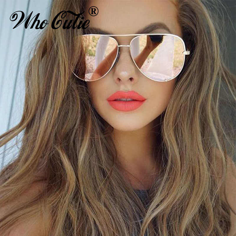 WHO CUTIE UV400 Oversized AVIATION Sunglasses Women Brand Designer Vintage Flat Top Pink Mirror Pilot Sun Glasses Shades OM806