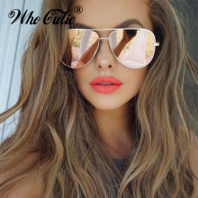 WHO CUTIE UV400 Oversized AVIATION Sunglasses Women Brand De