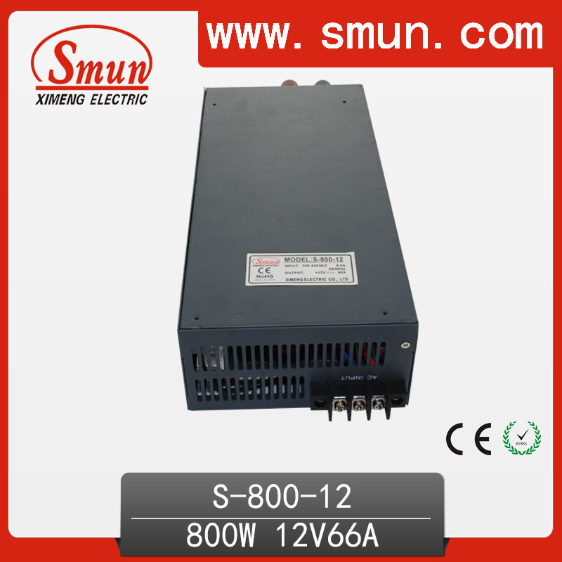 800W Switching Power Supply High Efficiency 12VDC 66A Single Output AC-DC Power Supply S-800-12