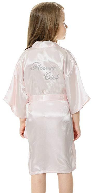 Fashion Kid Flower Girl Wedding Party Mini Bride Bridal Satin Solid Bath Robe Yukata Rayon Silk Sexy Sleepwear Children Dressing