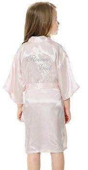 b6df794f7f Moda Niño niña boda Mini La novia de raso sólido Albornoz Yukata rayón seda Sexy  ropa de dormir niños vistiendo