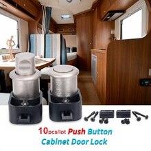 10 sztuk Push Button Drzwi do szafki zatrzask zamki gałka szuflada szafka karawana RV przyczepa campingowa łodzi części sprzętu