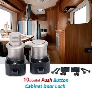 Image 1 - 10pcs Push Button Cabinet Door Locks Latch Knob Drawer Cupboard RV Caravan Camper Trailer Boat Hardware Parts
