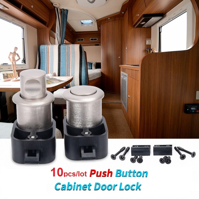 10pcs Push Button Cabinet Door Locks Latch Knob Drawer Cupboard Rv