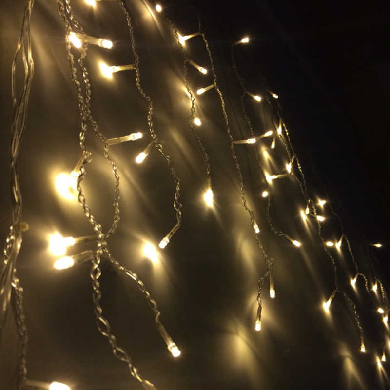 3.5M 96 LED Fairy String Lights Icicle curtain light Christmas Lights For Home Xmas Valentine's Day Wedding Party Indoor Decor