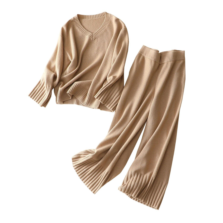 Shuchan 100% кашемировый Женский комплект 2 шт. свитер + брюки длиной до щиколотки с эластичной резинкой на талии, высокое качество, модный дизайн