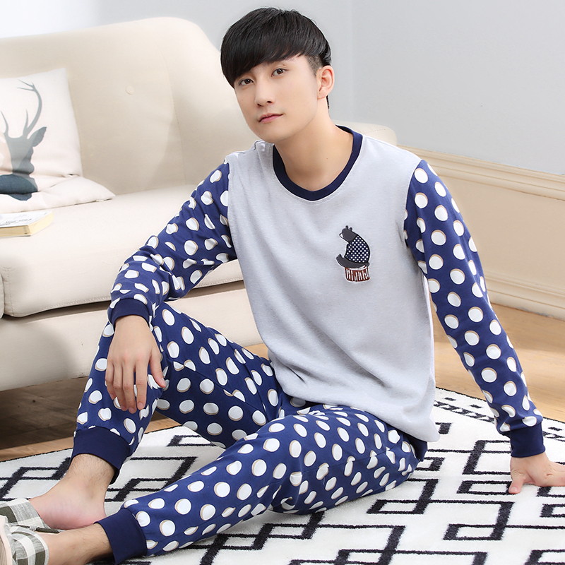 Spring Autumn 100% Cotton Long Sleeve Men Sleepwear Masculine Pyjamas Sexy Mens Pajama Sets Polka Dot  Lounge Fashion Homewear