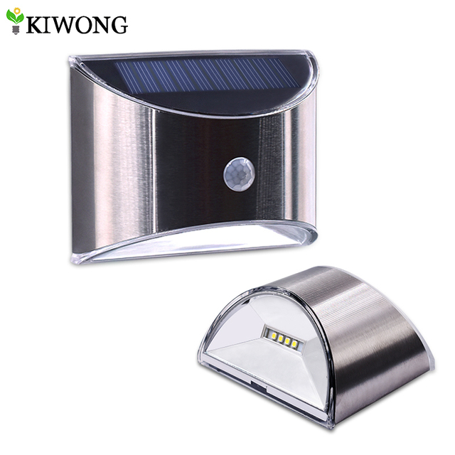 LED Solar Light PIR Motion Sensor Waterproof Outdoor Wall Lights Stainless Steel Shell Lighting For Garden Home Use New 1