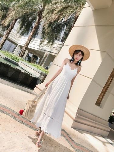 2018 новое летнее модное тайландское женское платье с Балийским островом es белое сексуальное темпераментное пляжное тонкое женское платье с