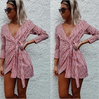Plaid Dresses 2018 Explosions Leisure Vintage Sexy Dress Fall Women Check Print Spring Summer Casual Shirt