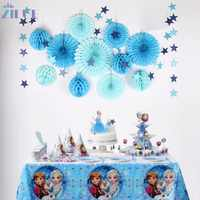 Zilue 12Pcs/Set Blue Star Paper Garland Honeycomb Balls Fans Flowers Wheel Tissue For Baby Shower Birthday Party Wedding Decor