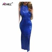 ADEWEL 2018ชั้นยาวสตรีสีดำสีฟ้าสีทองเลื่อมชุด