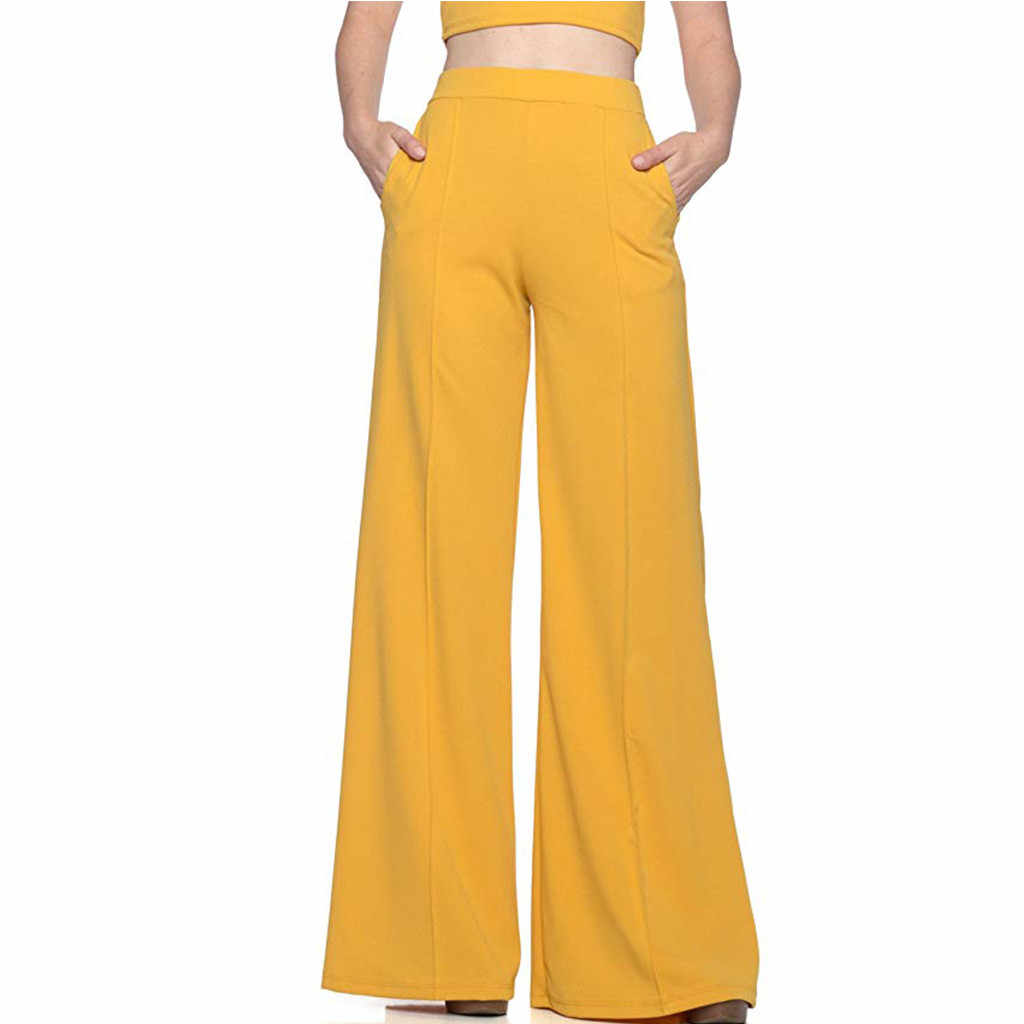 Broek Vrouwen Plus Size Vrouwen Hoge Taille Fashion Solid Geel Losse Zachte Leisure Wijde Lange Broek Vloeiende Palazzo Broek