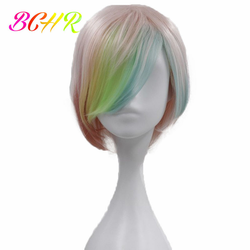 BCHR Short Synthetic Wig Cosplay Wigs for Women  6 inch Straight Rainbow Wig With Side Fringe Free Shipping