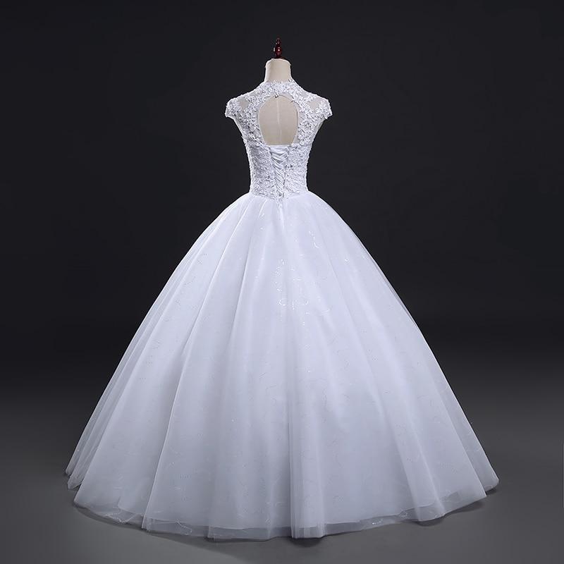 Fansmile Short Sleeve Princess Lace Wedding Dresses 2019 Plus Size Vintage Ball Gowns Robe de Mariage Vestido de Novia FSM-059F
