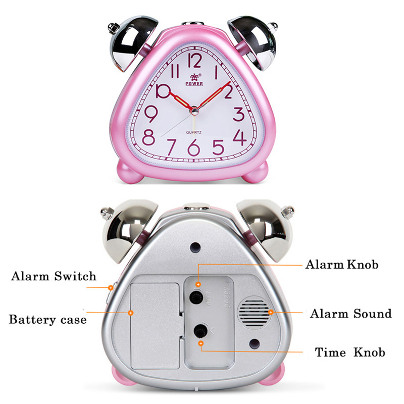 POWER Alarm Clock Twin Bell Carton Non-Ticking Quartz Music Alarm - Dekorasi rumah - Foto 4