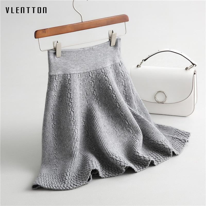 High Quality 2017 Autumn High Waist Knitted Skirts Women Pleated mini Skirt Elastic Flared Skirt Female midi Short Skirt Woman
