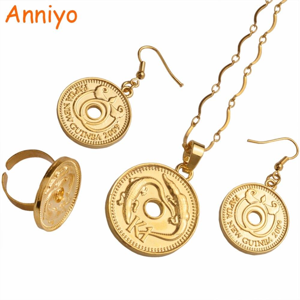 Anniyo Gold Farbe K1 Münze Anhänger Halsketten Ohrringe Ring Frauen