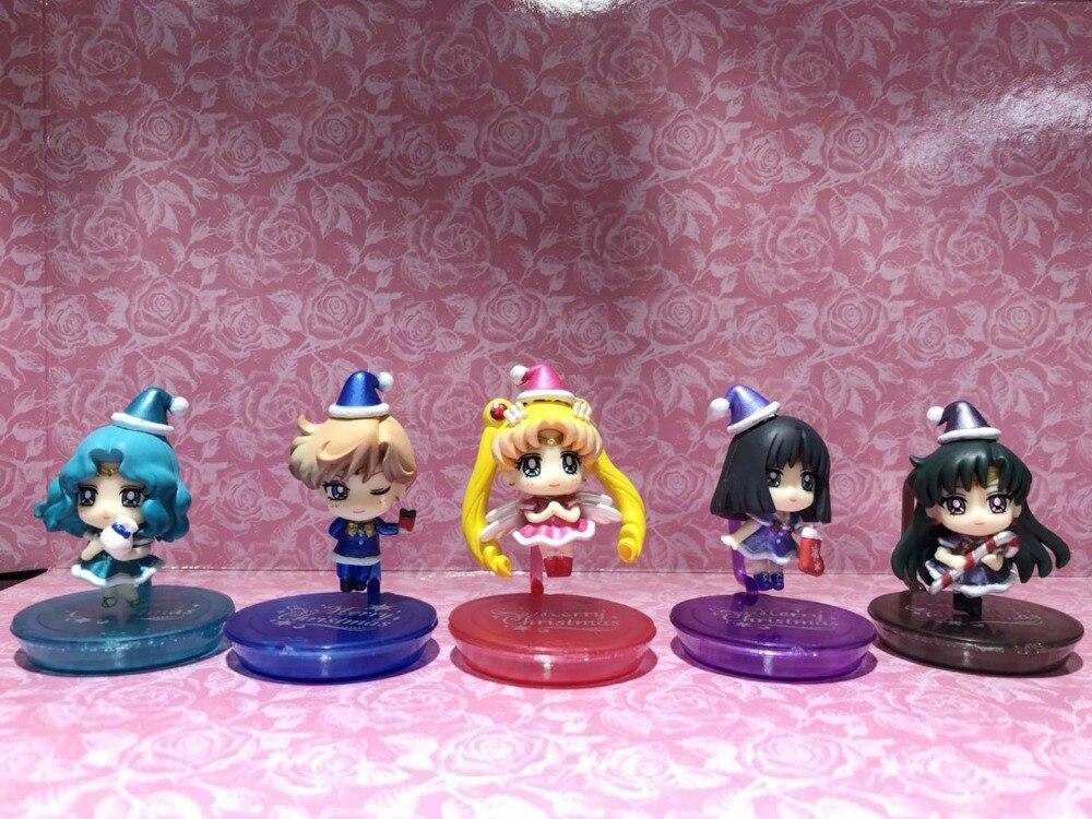 Sailor Moon 5pcs/set Mini Action Figures Christmas Special Guardians Of the Outer Planets PVC figure Toys Anime 7CM
