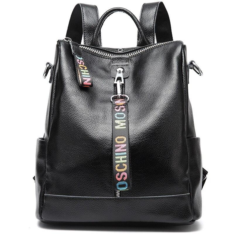 2019 Fashion Echtes Leder Rucksack Weibliche Schule Schulter Tasche Bagpack Frauen Leder Rucksäcke Schulranzen Reise Schulter Tasche-in Rucksäcke aus Gepäck & Taschen bei  Gruppe 1