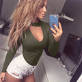 2017 Sexy Women Bodysuits Slim Long Sleeve V-Neck Jumpsuit Female Skinny Hollow Out Rompers Sexy Tops Black Red Green J22