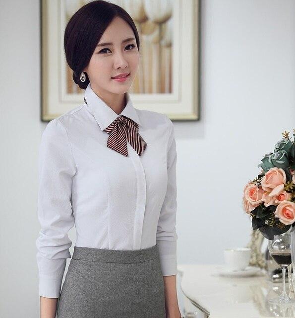 Wiosna Rękawem Koszule Kobiet Eleganckie Jesień Z Długim Białe m80vwNn