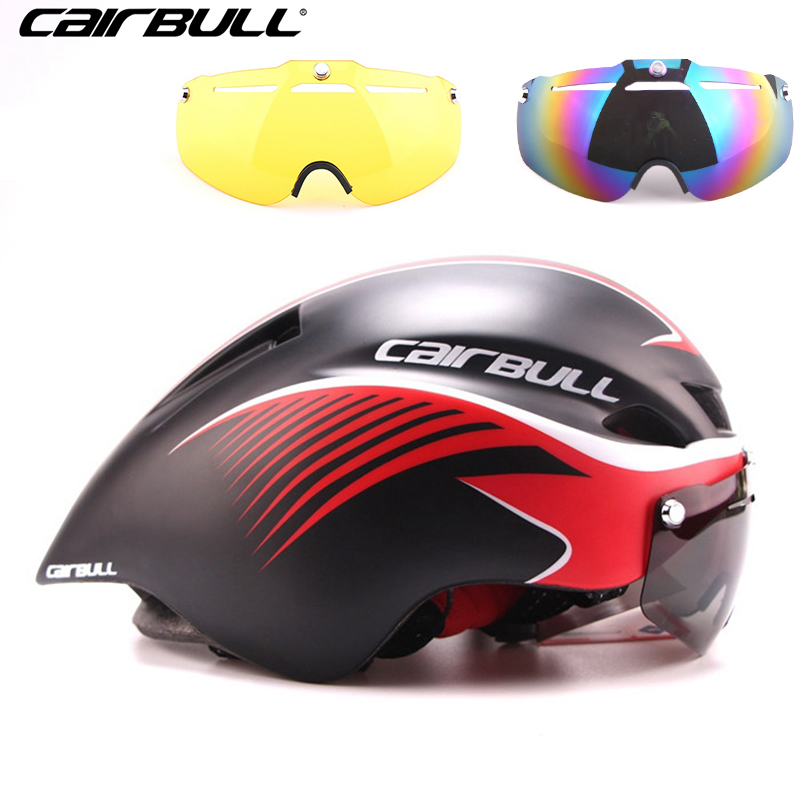 CAIRBULL 3 Lens Aero 290g TT Goggles Bike Helmet Road Cycling Bicycle Sports Safety Helmet Riding Mens Racing In-Mold Helmet topeak outdoor sports cycling photochromic sun glasses bicycle sunglasses mtb nxt lenses glasses eyewear goggles 3 colors